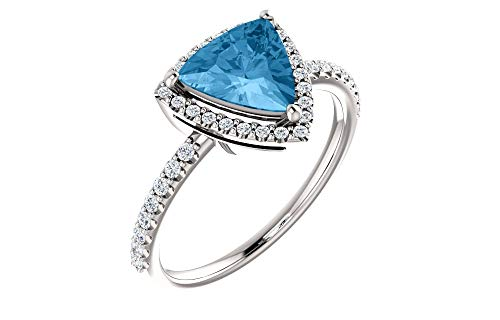 Jewels By Lux 14k White Gold Polished Genuine Swiss Blue Topaz And 1/4 CTW Diamond ()