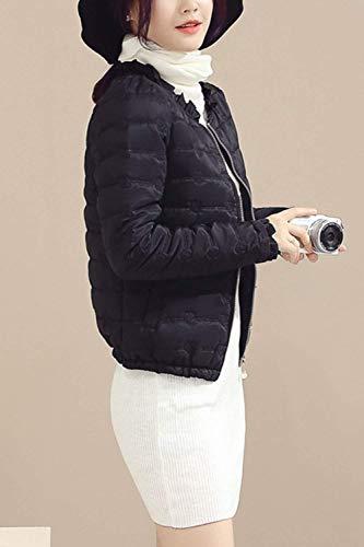 Con Autunno Giacche Piumini Giacca Cappotto Donna Trapuntata Puro Abbigliamento A Casual Chiusura Nero Colore Volant Vintage Cerniera Invernali Manica Tasche Fashion Coat Lunga wWqEqzSYgA
