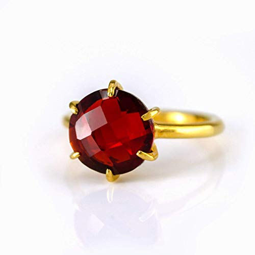 - Garnet Round Prong Set Ring, Vermeil Gold or Sterling Silver, January Birthstone ring