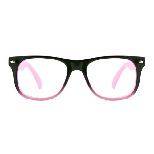 TIJN Safety Eyewear Cute Blue Square Eyeglasses Glasses with Clear Lens for Kids Boys Girls (Black-Pink, 45) ()