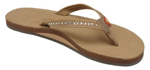 Rainbow Sandals Women's Single Layer Premier Leather w/Swarovski Crystal Narrow Strap, Sierra Brown, Ladies Medium / 6.5-7.5 B(M) US