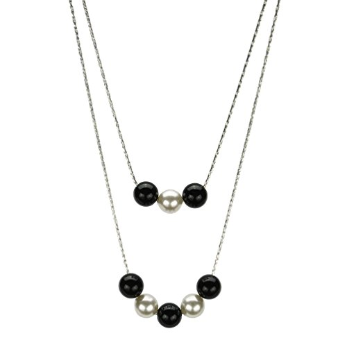 Joyful Creations 2-Strand Black Onyx Simulated Pearl Sterling Silver Chain Necklace Made with Swarovski Crystals 16