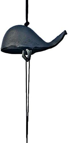 アンティーク 調 ドアベル 鋳鉄マニュアルの風チャイムペンダント鋳物鉄のくじら風レトロ呼び鈴ベル 呼び鈴 アイアン (Color : Black, Size : One size)