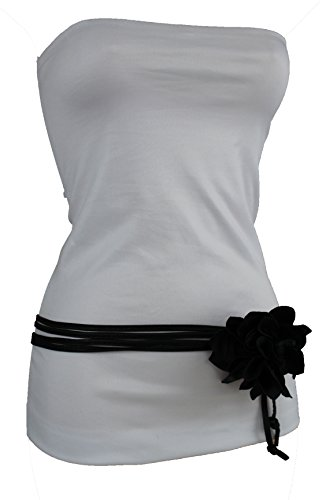 TFJ Women Faux Leather Skinny Tie Fashion Belt Wrap Around Flower Buckle Black (Black Medium-XL 30
