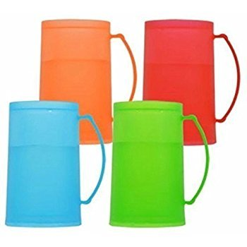 Bright/vibrant Blue, Green, Red, Orange Frozen (Freezer) Beverage Mugs Set of 4 by Greenbrier