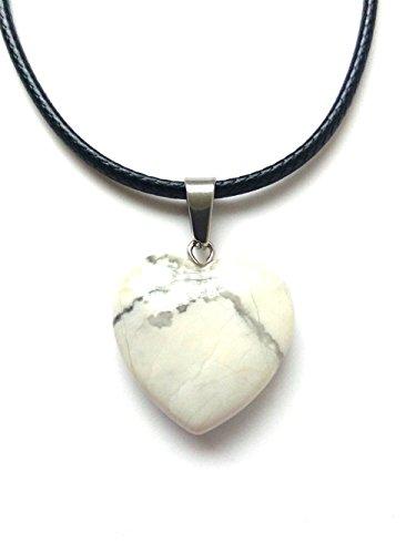 AIMITH Heart Shape Love Pendant Onyx Crystal Gemstone Rock Stone Chakra Necklace Jewelry (White Pine Stone)