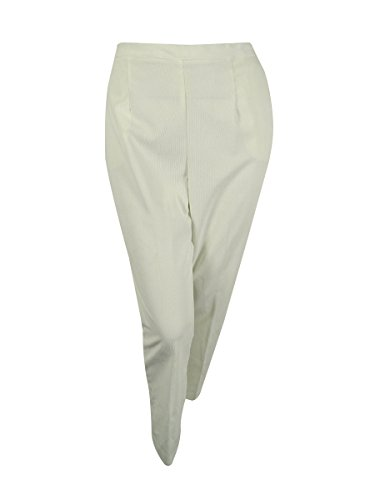 Alfred Dunner Womens Plus Flat Front Pull On Corduroy Pants Ivory 22W