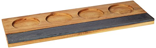 Rustic Farmhouse Acacia Wine Flight Board by Twine - (Wooden Wine Tasting Board)