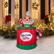 Holiday Time 5 Foot Animated Gingerbread Man Mug Inflatable