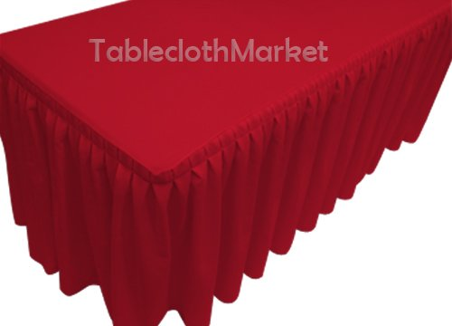 5' Ft. Fitted Tablecloth Double Pleated Polyester Table S...