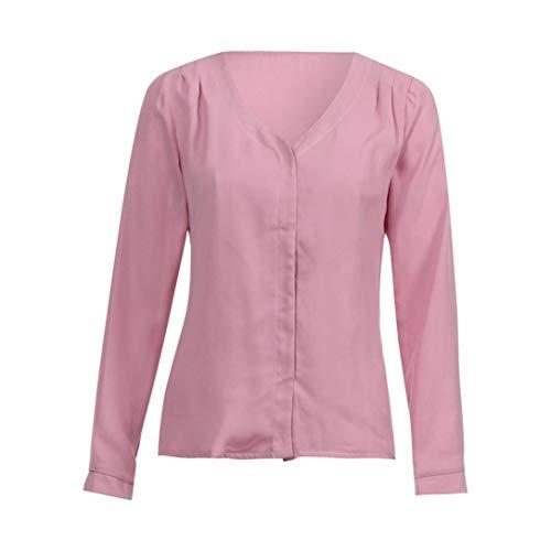 Automne en Shirt Manches Bringbring Unie Jabot Femme Tops Rose paule V Col Mousseline Chemisier Couleur Chic T en Longues 6WnaBC