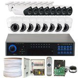 GW Security VD32CH108M36WD16 32-Channel 960H DVR Security Camera System with 700TV Outdoor Indoor Bullet Dome and 2.8-12mm Varifocal Security Camera