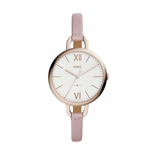 (Fossil Women's 'Annette' Quartz Stainless Steel and Leather Casual Watch, Color:Pink (Model: ES4356))
