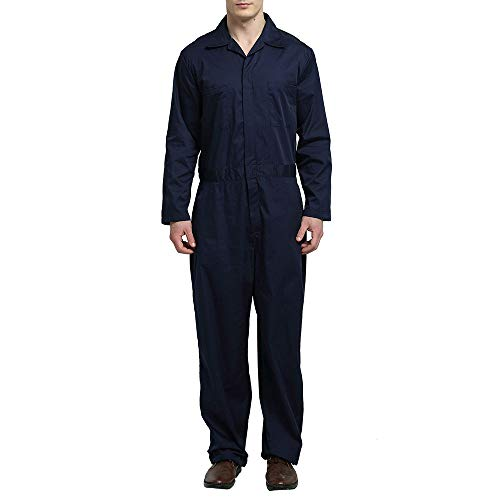 TOPTIE Men's Basic Long Sleeve Twill Zip-Front Coverall, Navy, M]()