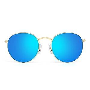 Retro Round Mirrored Sunglasses Vintage Reflective Glass Lenses Men Women