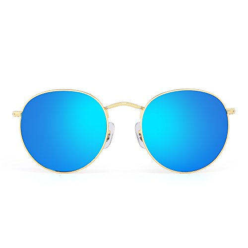 Retro Round Mirrored Sunglasses Vintage Reflective Glass Lenses Men Women (Gold / - Round Blue Glasses