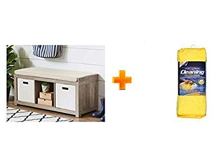 Marvelous Organizer Bench 3 Cube Storage In Rustic Gray With Microfiber Cleaning Towels 12Count Bundle Set Pabps2019 Chair Design Images Pabps2019Com