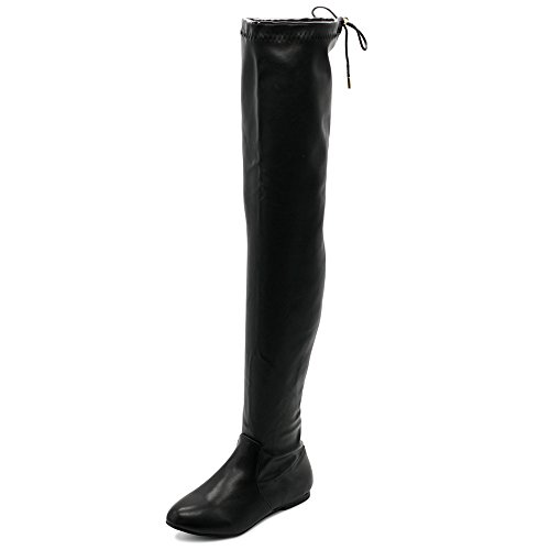 (Ollio Women Shoe Adjustable Drawstring Span Faux Leather Thigh-high Zip Up Long Boots TWB23(9 B(M) US, Black))