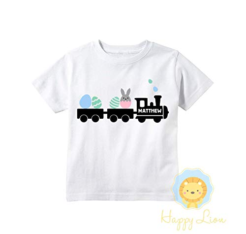 Happy Lion Clothing - Easter shirts for boys, Custom Personalized Easter Shirts, Cute Train Crane Easter Kids T-shirts