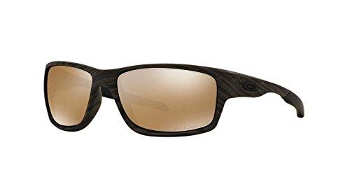 Tungsten Iridium Sunglasses (Oakley Men's Canteen Polarized Iridium Rectangular Sunglasses, Woodgrain with Tungsten Iridium Polarized, 60 mm)