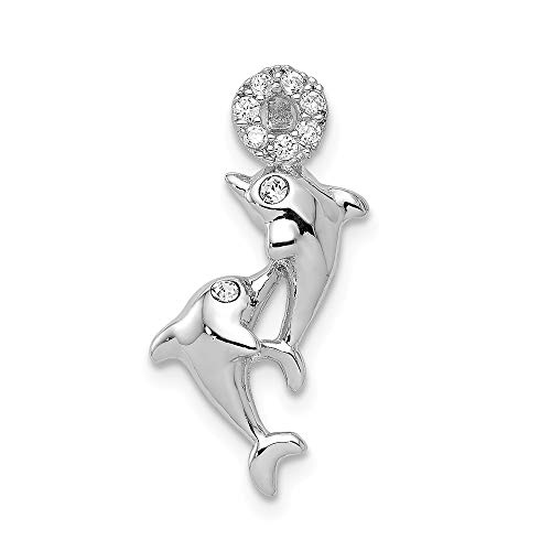 (Mia Diamonds Solid 925 Sterling Silver Rhodium-Plated Crystal Dolphins Chain Slide)