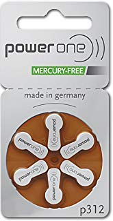PowerOne Hearing Aid Batteries Size 312 - 20 Packs of 6 Cells by PowerOne