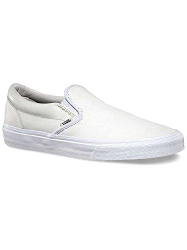 Vans Klassiska Slip På Skor Gymnastik Spraka Blanc De Blanc / Läder (m9.5, Vit)
