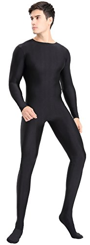 speerise Mens Full Body Lycra Spandex Zentai Suit Cosplay Bodysuit Costumes, XL, Black