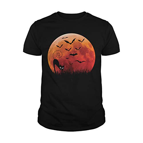 Men's Cat & Bats Halloween Costume T-Shirt (S, Black)]()