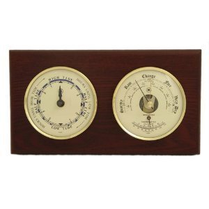 Bey-Berk WS217 Tide Clock and Barometer with Thermometer on Mahogany Wood with Brass Bezel. Wall Mounts Vertically or Horizontally. Brown