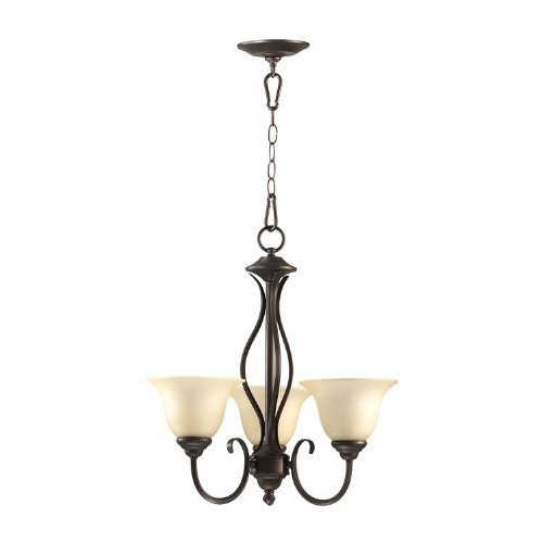 Quorum International 6010-3-86 Chandeliers with Amber Scavo Shades, Oiled Bronze