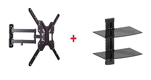 Mount Plus 1092-30 Tilt Swivel Corner Wall Mount with Bundle 2 Glass Shelf of Cable Box DVD Player Stereo Components for Most 24