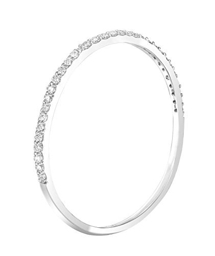 - 14k White Gold Dainty Half Band Natural Diamond Wedding Anniversary Ring (0.08 cttw, G-H Color) (Size 7)