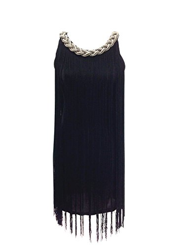 Fringe Embellished Neck Speakeasy Prohibition Era Fashion Dresses Costumes , Black, One -
