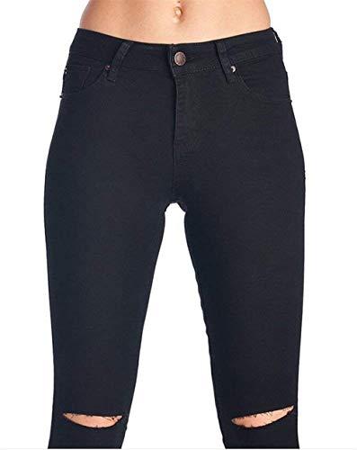 Rasgado Agujero Vaqueros Pantalones Estiramiento Lápiz Mujeres De Color Alta Schwarz Sólido Aire Casuales Cintura Libre Las Al Botón Ropa 8zzwgCq