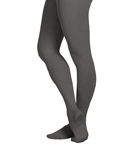 Grey Tights - EMEM Apparel Women's Ladies Solid Colored Opaque Dance Ballet Costume Microfiber Footed Tights Stockings Fashion Grey D
