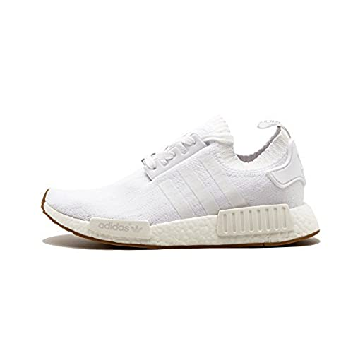 Adidas Men's NMD_R1 PrimeKnit White/Gum Running Shoes (10.5)