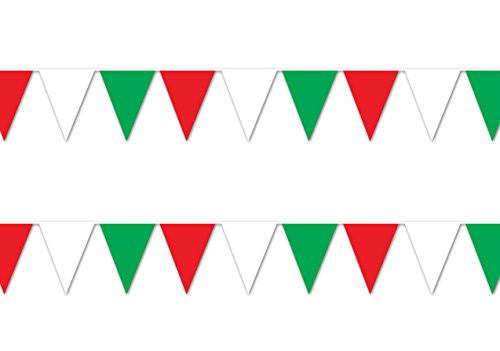 Beistle S50702-RWGAZ2 Red, White & Green Pennant Banner 2 Piece, White/Green -
