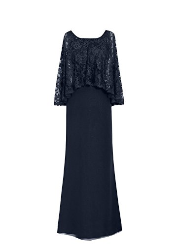 Plus Size Mother of The Groom Dresses for Beach Wedding Long Chiffon Evening Gown Navy Blue US20W
