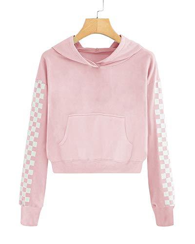Imily Bela Kids Crop Tops Girls Hoodies Cute Plaid Long Sleeve Fashion Sweatshirts (7-8 Years/Height:47in, Z2-Pink)
