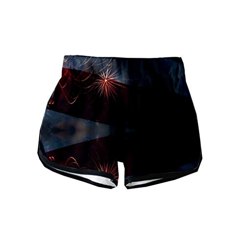 VEZAD Women July Fourth Independence Day Print Shorts Workout Waistband Skinny Yoga Pants