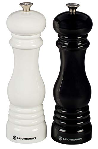 Le Creuset Salt and Pepper Mill Set, 8-Inch Black and White ()