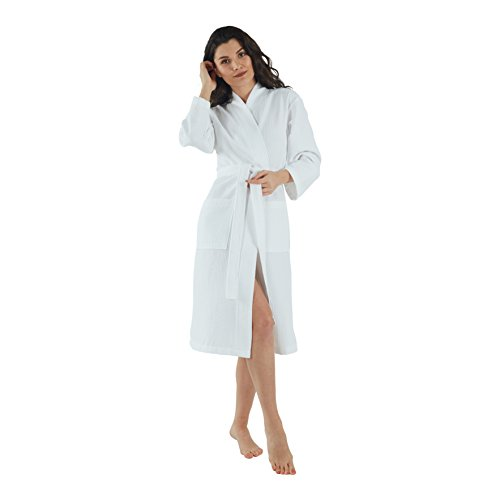 (Bagno Milano Womens Waffle-Knit Bathrobe - Lightweight Spa Robe, Made in Turkey, White L-XL)