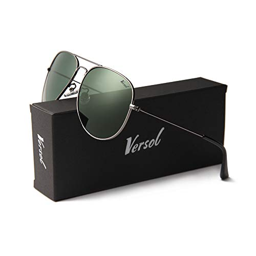 Versol Aviator Sunglasses for Men Women Polarized Metal Frame and UV 400 Protection 60mm - Premium Classic Style (Olive Green + Grey)