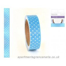 - Fabric Deco Tape with light blue Polka Dots