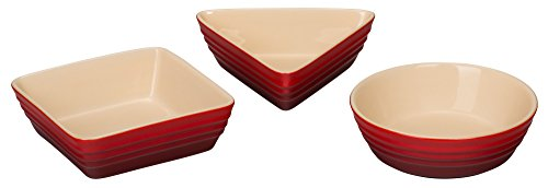 Le Creuset of America Stoneware 3 Piece Serving Dish Set, - Red Cerise Ceramic