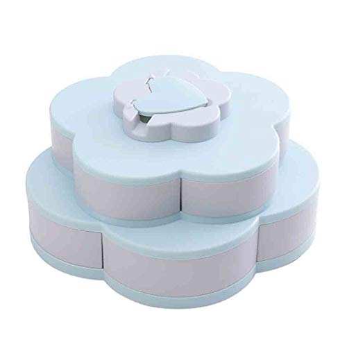 BCDshop Layer Rotating Snack Box Containers Bloom Flower Design Candy Nut Fruit Food Storage Box Jewelry Organizer Tray with Phone Holder (Blue)]()