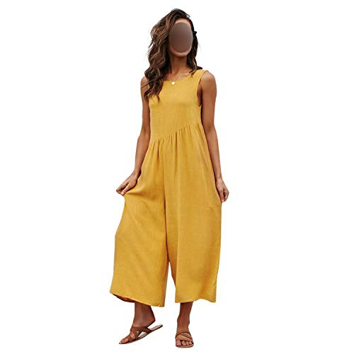 Linen Jumpsuit Womens Vintage Rompers Jumpsuits Summer Sexy Sleeveless Solid Vest Playsuits,Yellow,M