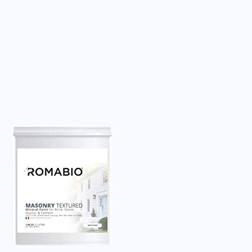 Romabio Masonry Textured, Italian Mineral Paint For Brick, Stone, Stucco & Cement, Richmond White, 1L/1QT