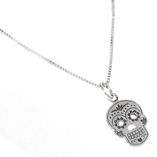Quirky Sterling Silver Jewellery: 'Day of the Dead' Sugar Skull Pendant (10mm x 20mm incl Bale) (N409) Mup2tSdj